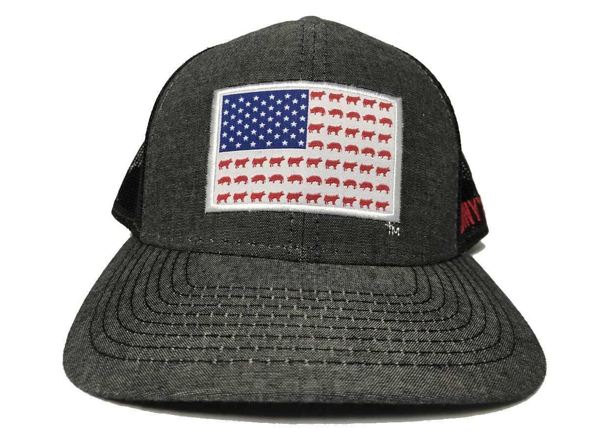FLAG – Pigs & Cows Hat: Twill / Mesh Trucker Hat.  MBW-800CBC – Heathered Black / Black – OSFM